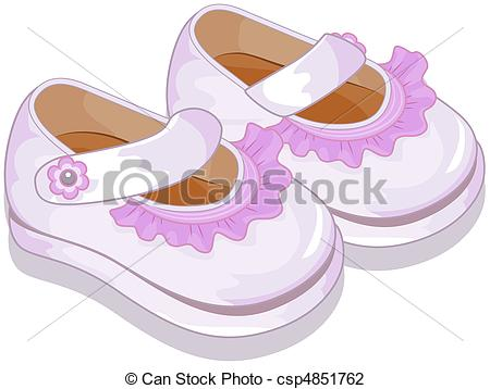 Of A Pair Of Baby Shoes For Girls Csp4851762   Search Clipart