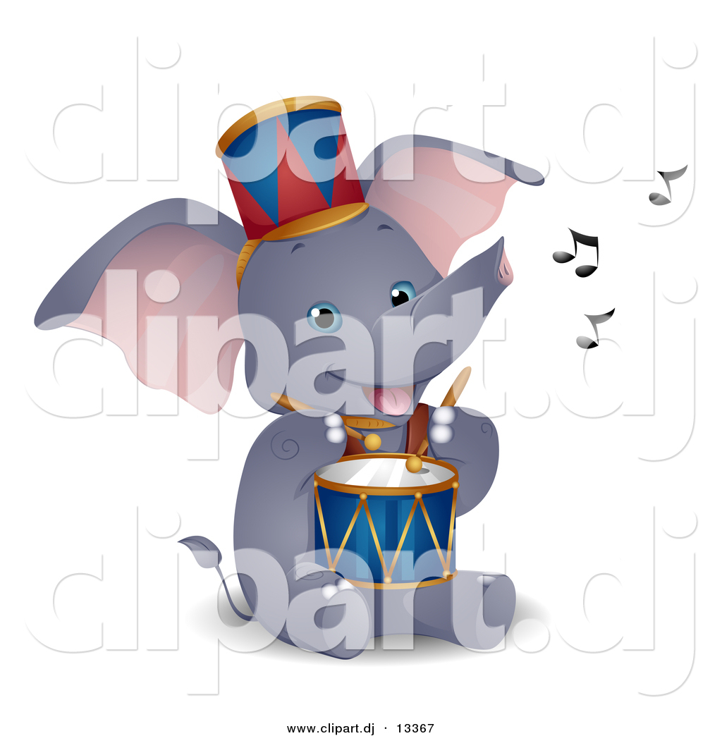 Vector Clipart Of A Happy Circus Elephant Playing Drum   Cartoon