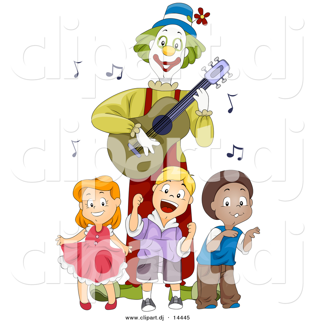 Vector Clipart Of Happy Cartoon Kids Dancing With Clown Playing Guitar