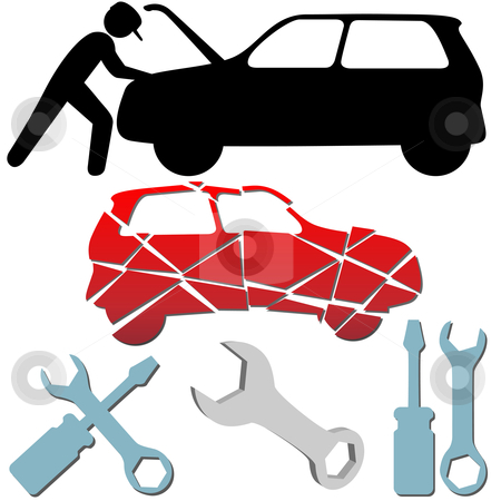 Auto Repair Maintenance Car Mechanic Symbol Set Stock Vector Clipart