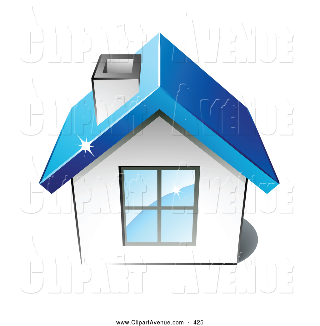 Avenue Clipart Of A Little White Home With A Big Window Chimney And