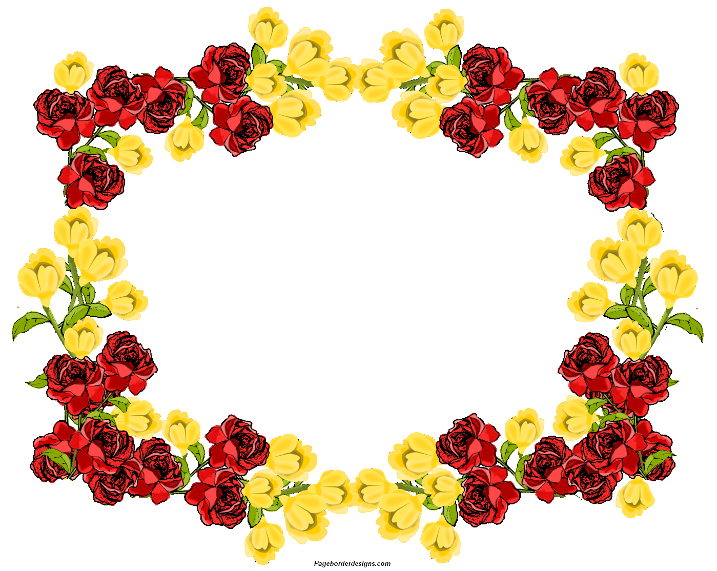 Red Apple Green and Yellow Border Clip Art