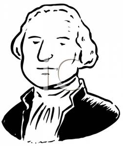Black And White Cartoon The First President Royalty Free Clipart