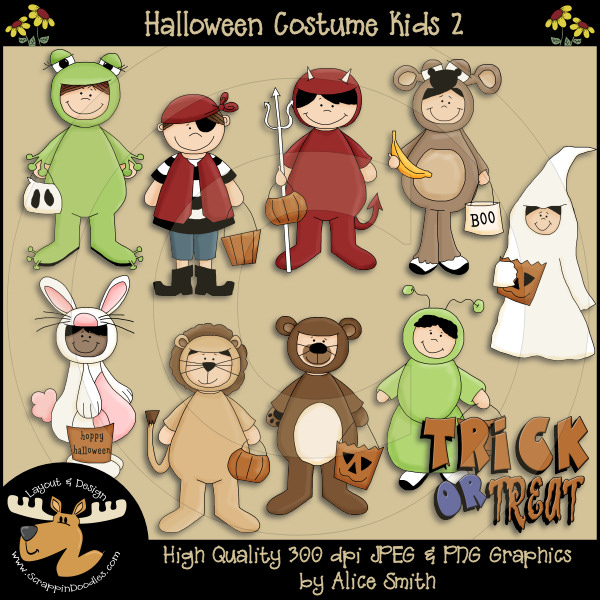 Costume Kids 2 Clipart Download     2 00   Dollar Doodles