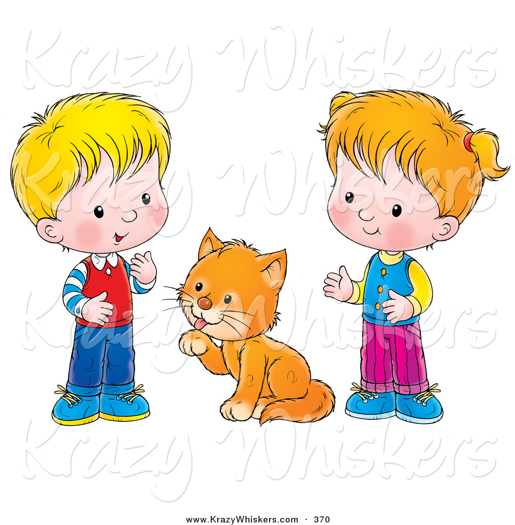 Critter Clipart Of A Grooming Cat Between A Little Boy And Girl On A