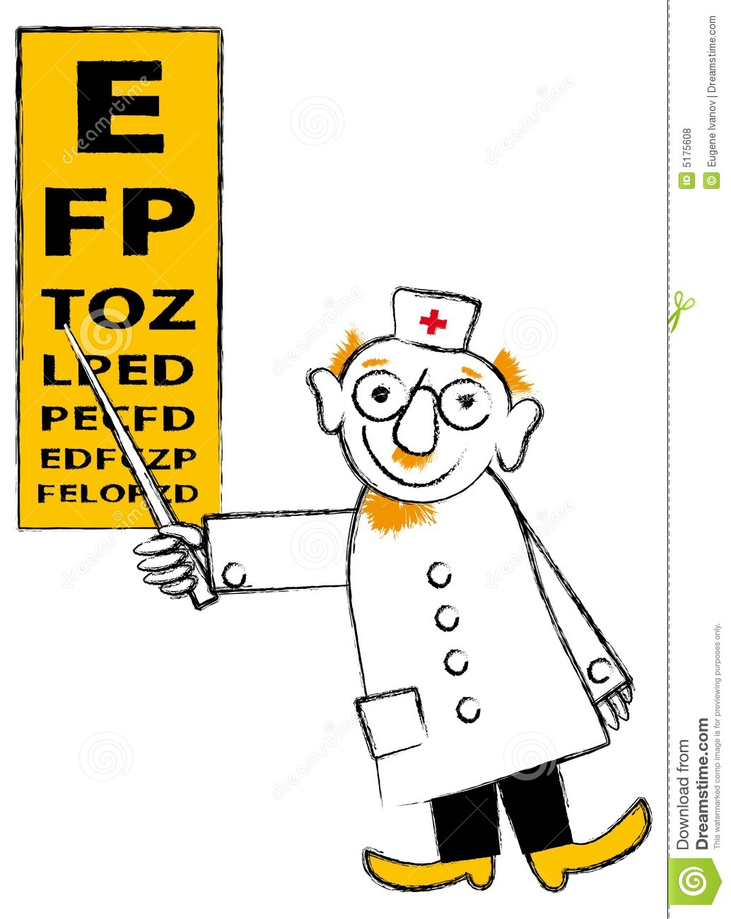 Eye Doctor Tools Clipart Male Eye Doctor Pointing To An
