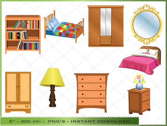 Furniture Clipart   Clip Art Of Bedroom Furniture   Commercial Use