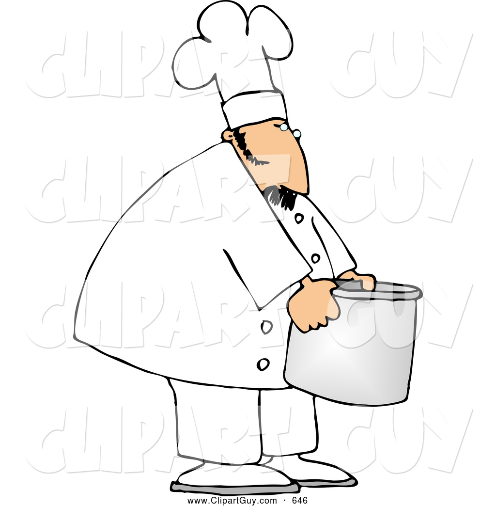 Larger Preview  Clip Art Of Afriendly Chef Moving A Big Aluminum Metal