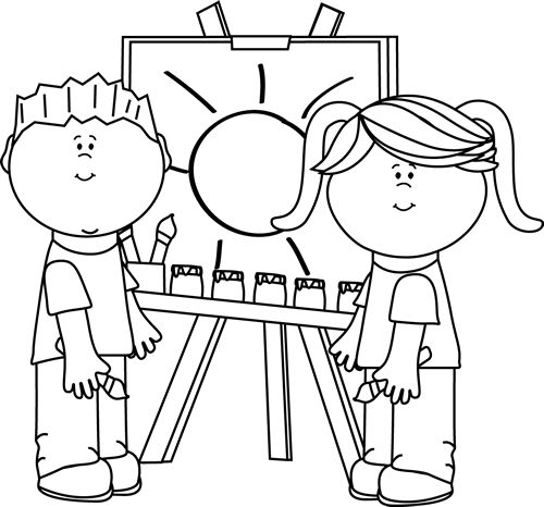 black and whiteclipart artist painting clipart clipart