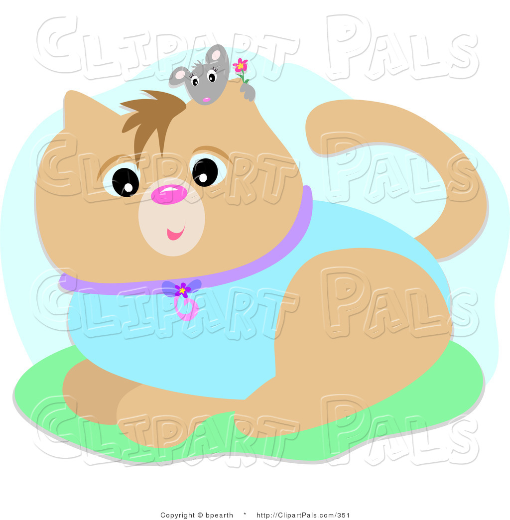 Pal Clipart Of A Little Gray Mouse Holding A Flower Peeking Over A