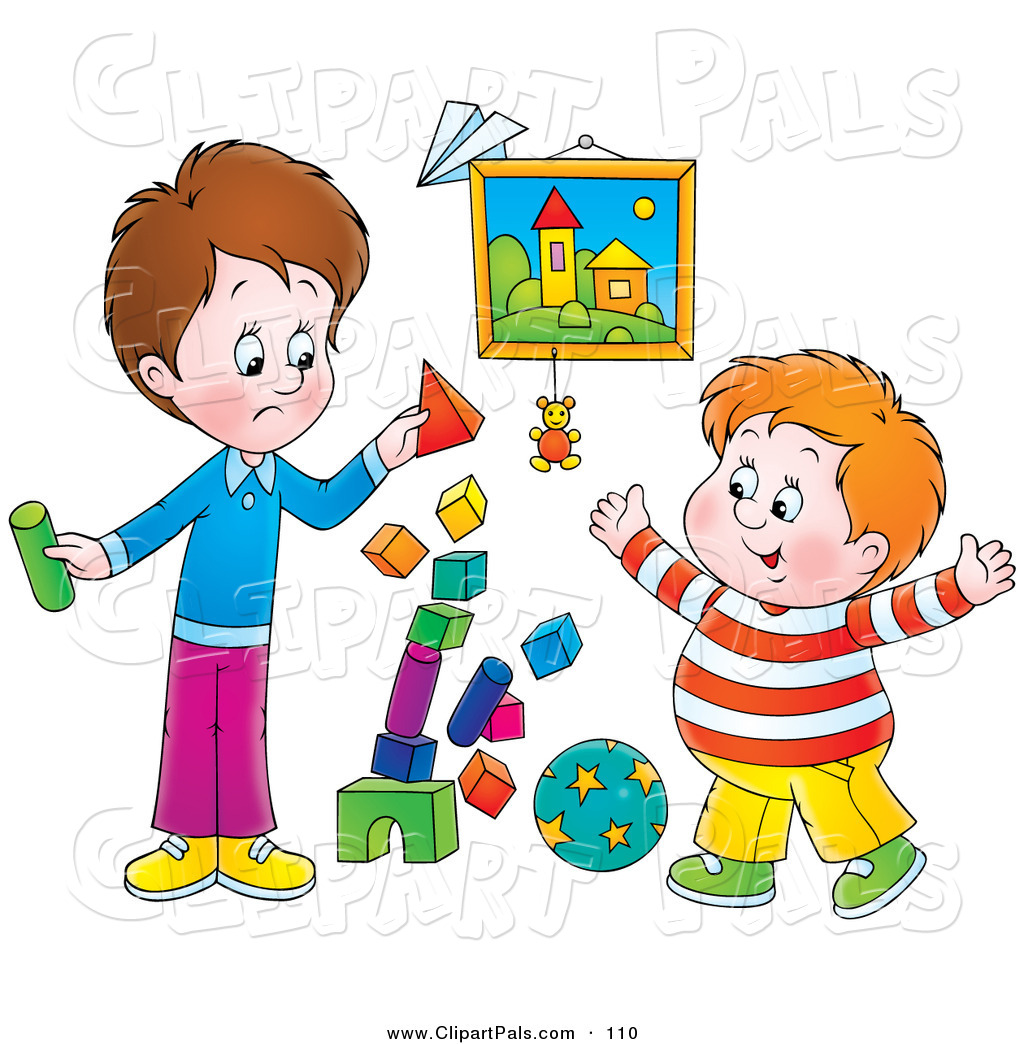 Pal Clipart Of A Stack Of Colorful Blocks Tumbling While Two Boys Play