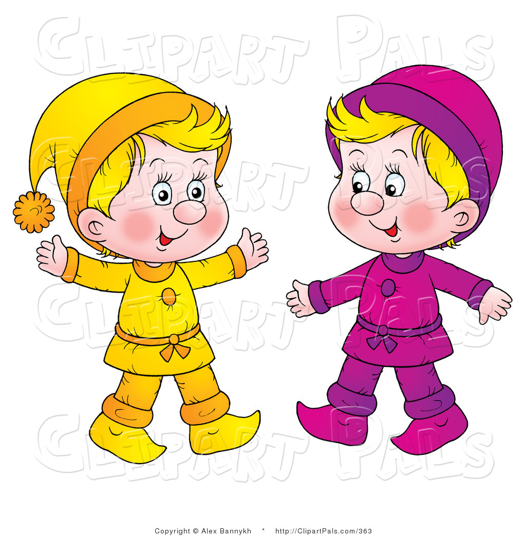 Pal Clipart Of Two Little Blond Kids Dressed In Yellow And Purple By