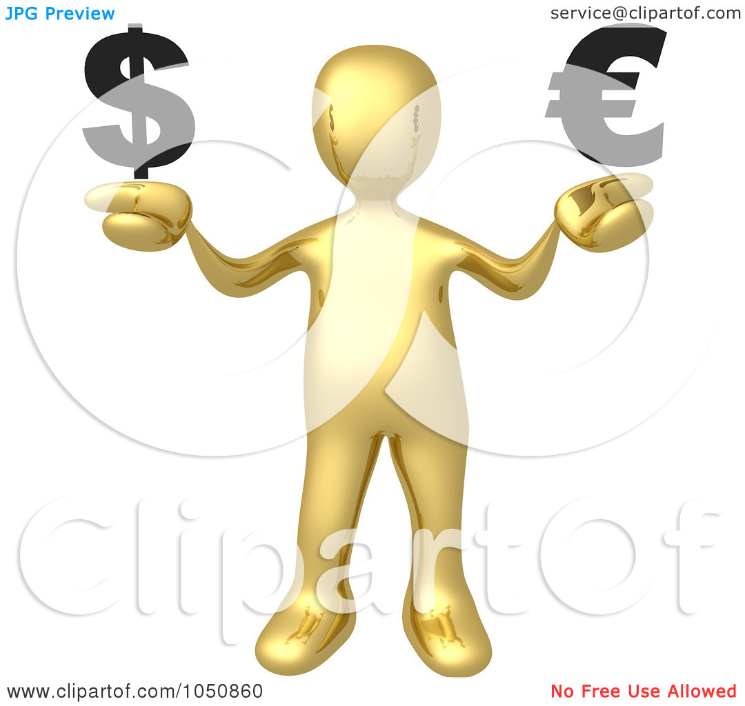 Royalty Free Rf Clip Art Illustration Of A 3d Gold Man Weighing The