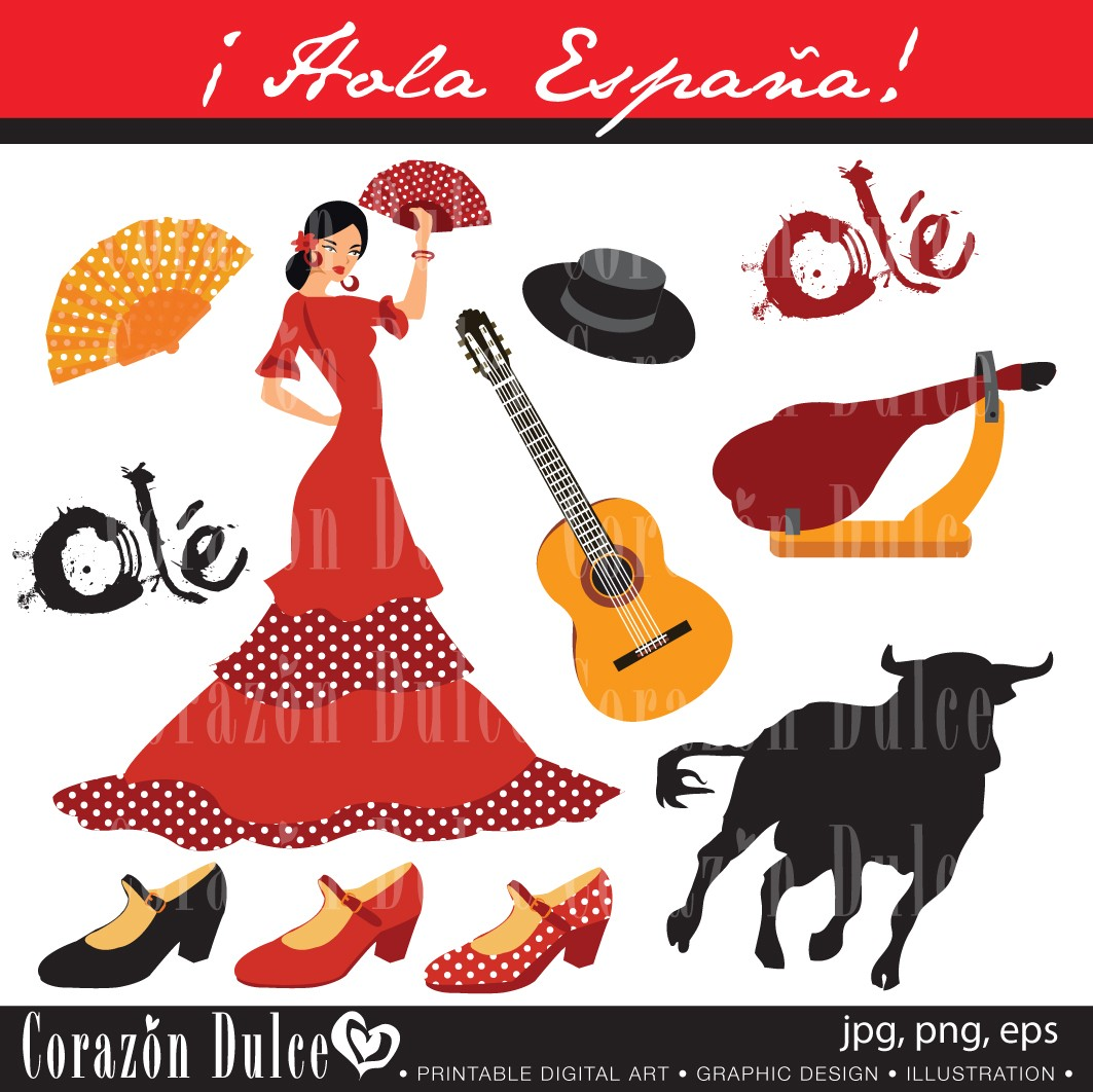 Spain 1 Digital Clip Art Set Personal And By Corazondulce On Etsy