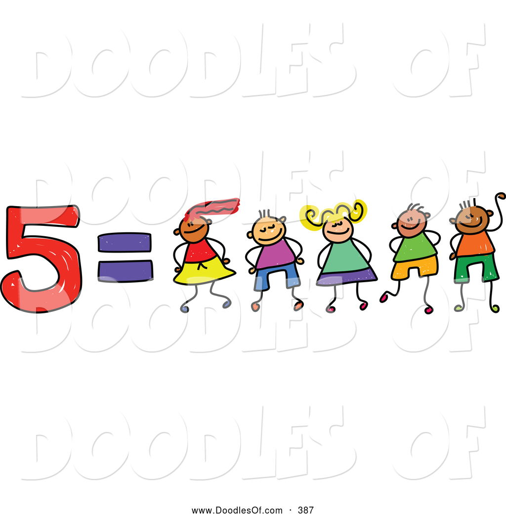 Vector Clipart Of A Childs Sketch Of Five Equals 5 Kids By Prawny