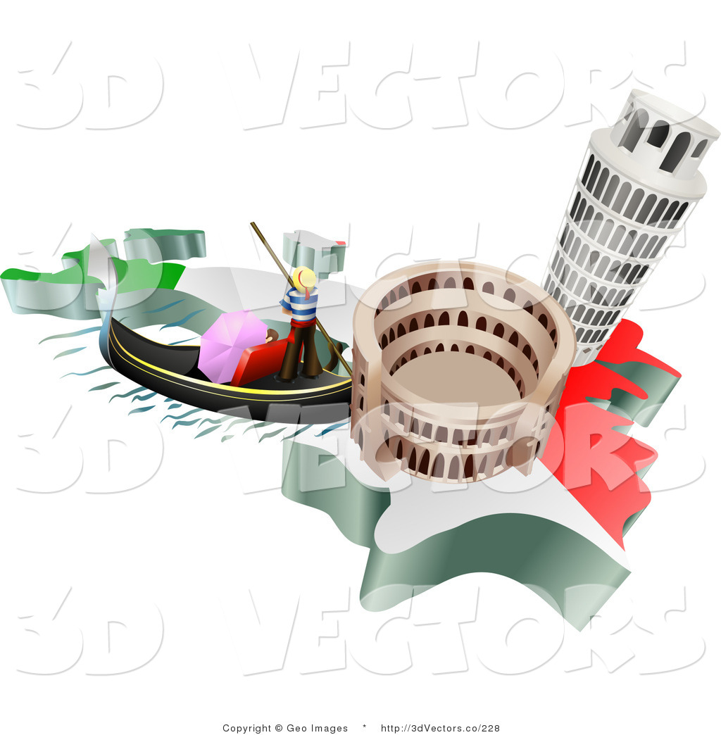 3d Vector Clipart Of Italian Tourist Attractions Of The Leaning Tower