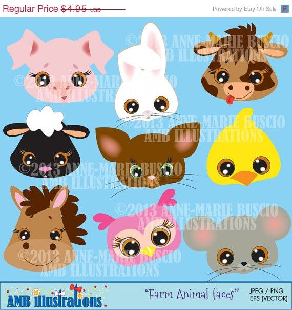 60  Off Farm Animal Faces Clipart Commercial Use Vector Graphics D