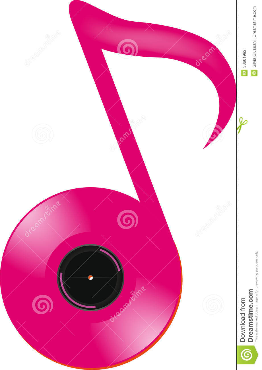 Abstract Pink Musical Note Sign With Vinyl Record White Background ...