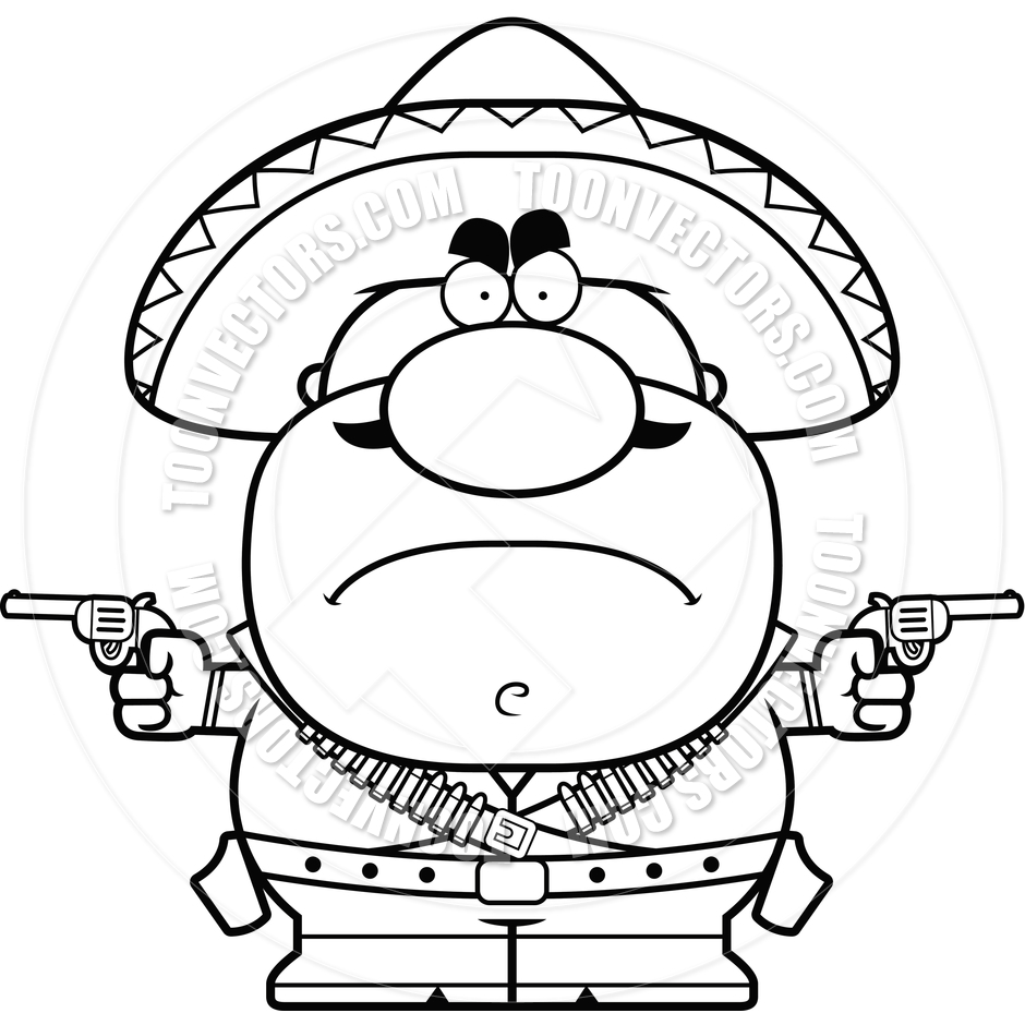 Angry Cartoon Bandito  Black And White Line Art  By Cory Thoman   Toon