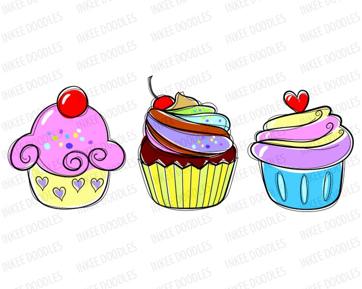 Clip Art Candy Cherry Sweet Chocolate Cream Cupcakes Hand Drawn Food