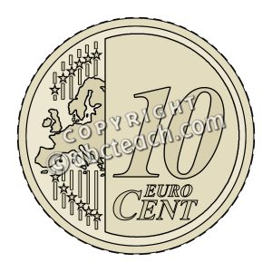 Clip Art  Euro 10 Cent Color   Preview 1