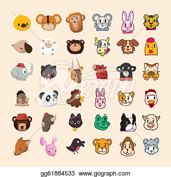 Clip Art Vector   Set Of Cute Animal Face Icon  Stock Eps Gg61884533