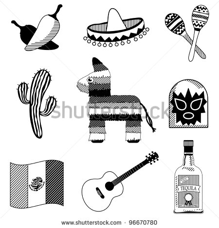 Collection Of Mexican Icons In Black Silhouette Isolated On White
