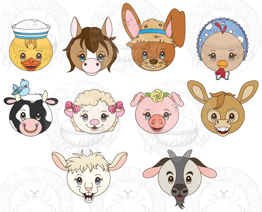 Farm Animal Faces 4 Left