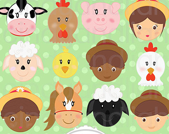 Farm Animals And Farmers  Faces  Clipart