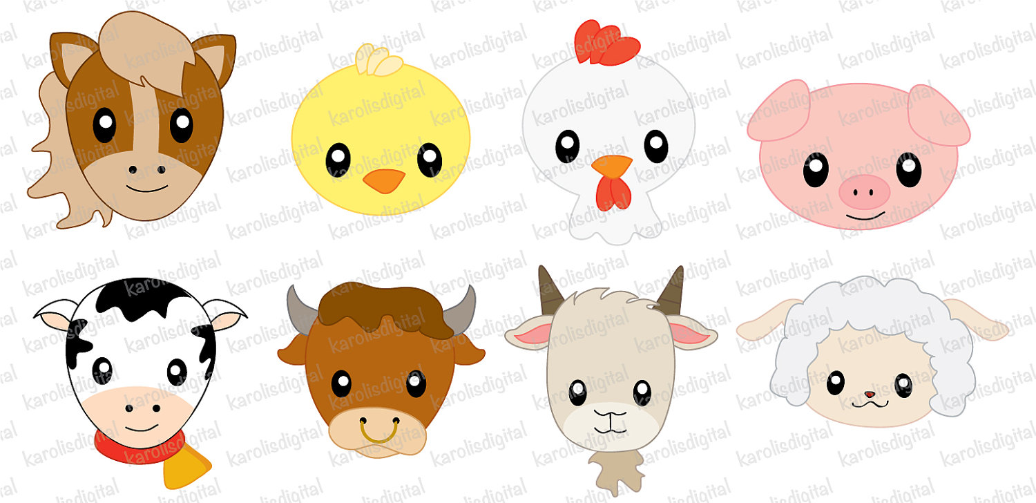 Clip Art Farm Animals Clipart cute farm animals clipart kid faces clip art set van karolisdigital op etsy