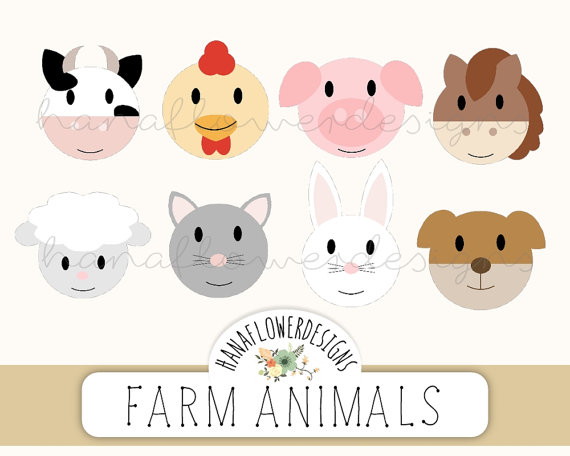 Farm Barnyard Animal Faces Embellishments  Clipart   Cow Chicken Pig