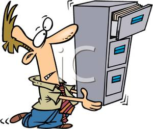 Man Carrying A File Cabinet   Royalty Free Clipart Picture
