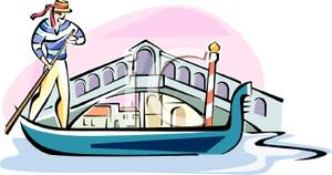 Man Rowing A Gondola In Italy   Royalty Free Clipart Picture