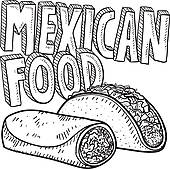 Mexican Food Clipart Black And White Mexican Food Sketch