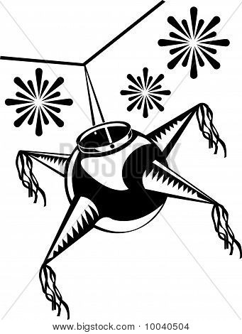 Or Photo Of Black And White Clip Art Illustration Of A Mexican Pinata