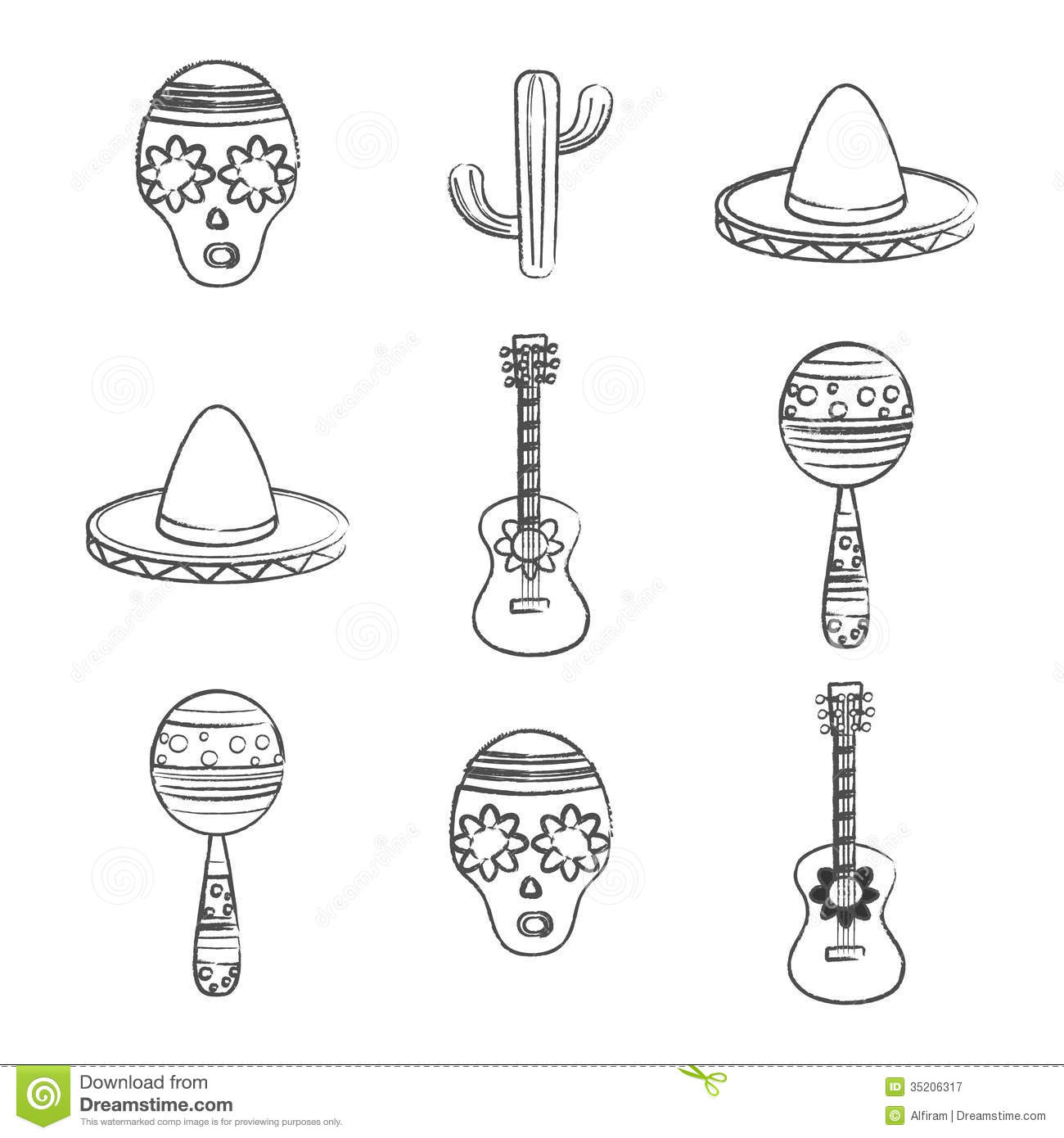 Set Of Black And White Mexican Symbols Royalty Free Stock Photography