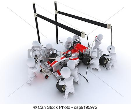 Stop   3d Render Of A Race Car Pit Stop Csp9195972   Search Clipart