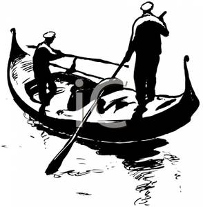 Two Men Rowing A Gondola   Royalty Free Clipart Picture