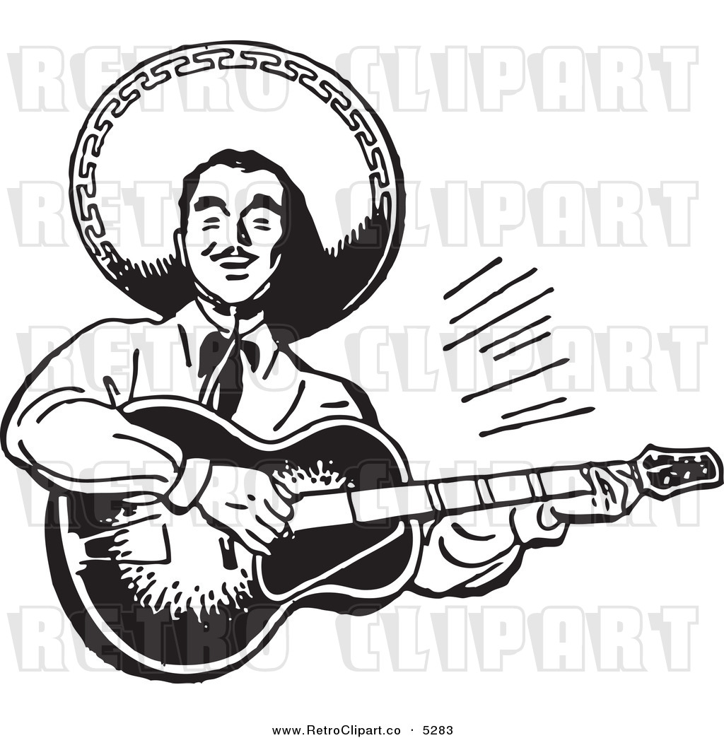 Vector Clipart Of A Black And White Retro Happy Mexican Mariachi