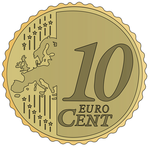 Vector Image Of 10 Euro Cent   Public Domain Vectors