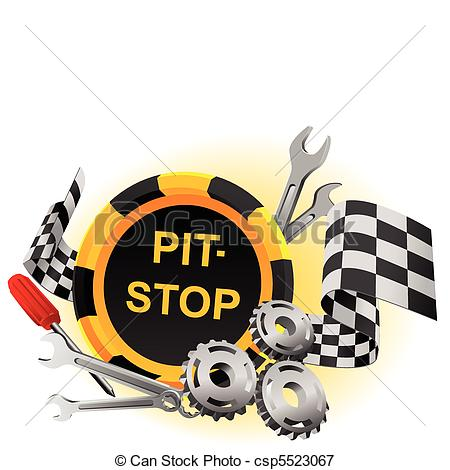 Vectors Illustration Of Pit Stop   Sign Pit Stop In A Vector With The