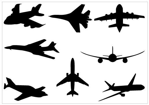 Airplane Silhouette Clip Art Packcategory  Military Vector Graphics