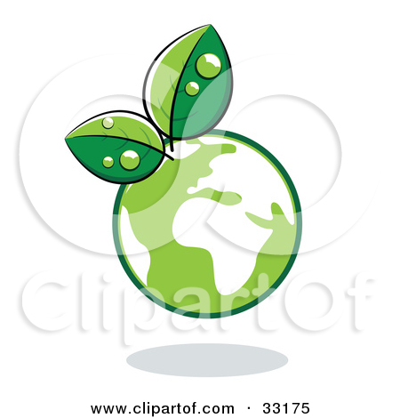 Clipart Illustration Of Organic Leaves Sprouting From A Green Globe By