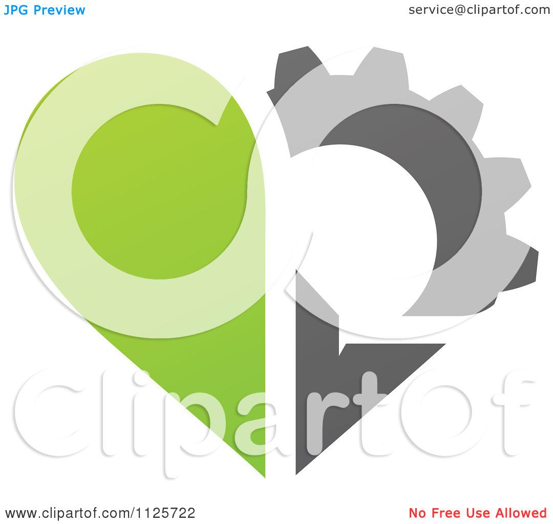 Clipart Of A Green And Gray Organic Heart And Gear Or Flower   Royalty
