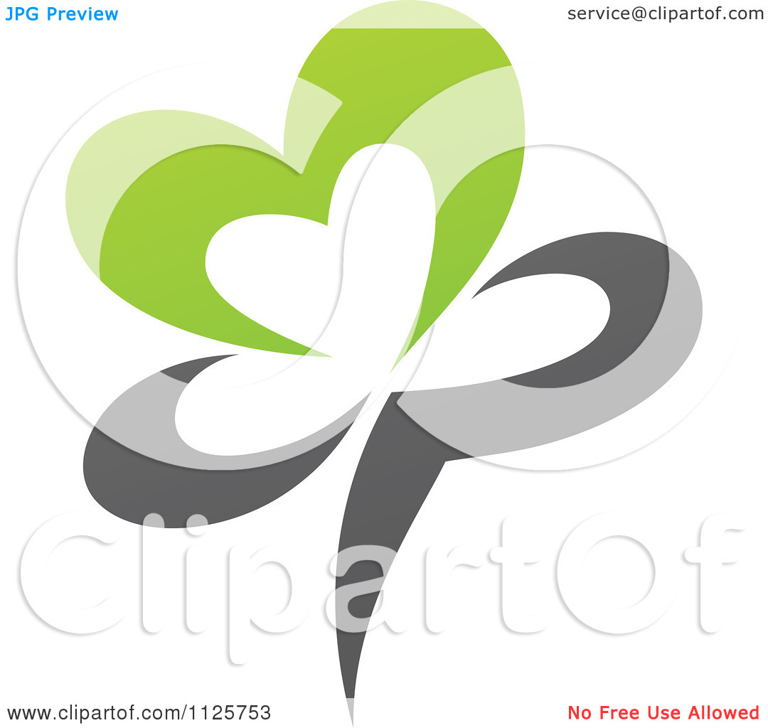 Clipart Of A Green And Gray Organic Heart Flower   Royalty Free Vector