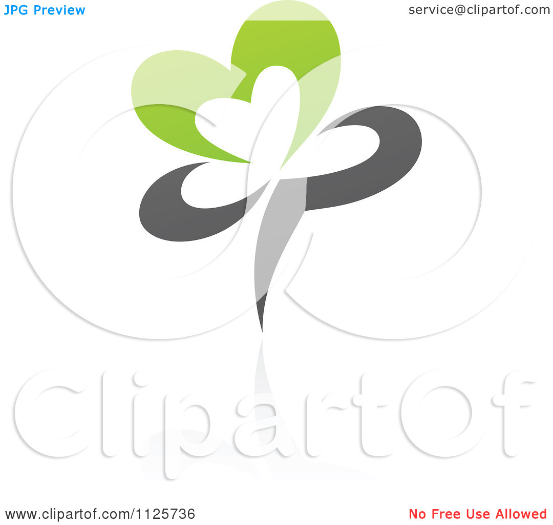 Clipart Of A Green And Gray Organic Heart Flower With A Reflection