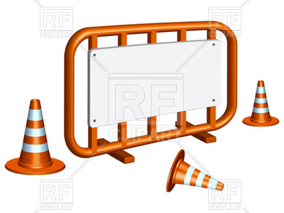 Fence And Traffic Cones Download Royalty Free Vector Clipart  Eps