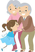 Grandparent Couples With Grandchild Stickman   Clipart Graphic