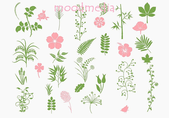 Green Floral Flowers Clipart Set Organic Floral Flowers Clip Art