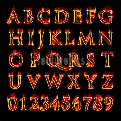 Illustration Of A Set Of Fiery Flaming Letters And Numbers Isolated